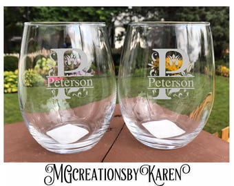 Personalized Wine Glasses, Custom Etched Wine Glasses, Monogram Etched Glasses, Custom Barware, Bridesmaid Gifts, Personalized Wedding Gift