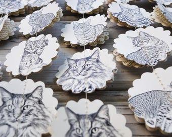 Animal paper garland, Cats garland, Cat baby shower, Pets decorations, Animal party decorations, Photo backdrop, Circle garland, Guirlande