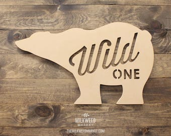 Wild One Bear Cutout Sign, Unfinished