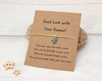 Good Luck Gift, Good Luck Charm, Wish Bracelets, Exam Good Luck, Good Luck Wish Bracelet, Good Luck Charm Bracelet, Four Leaf Clover Charm
