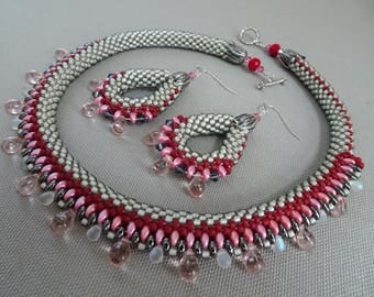 Be My Valentine-Bead Crochet Necklace & Earrings