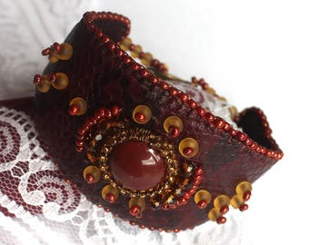 Statement bracelet Everyday bracelet Embroidered bracelet Elegant bracelet Casual bracelet Brown bracelet Luxury bracelet Gift for wife