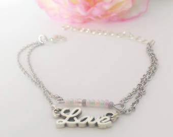 Bracelet love and Pearl colored