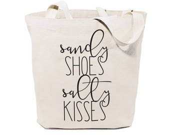 Cotton Canvas Sandy Shoes and Salty Kisses Beach, Shopping and Travel Reusable Shoulder Tote and Handbag, Gifts for Her, Farmers Market, Sea