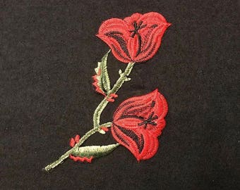 Embroidered patch.Flower patch. Red flower patch.