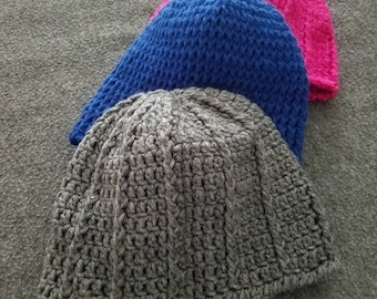Pink and Navy Winter Caps and a Gray Winter Cap/Scarf Combo