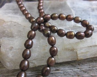 Brown rice pearls // freshwater pearl strand