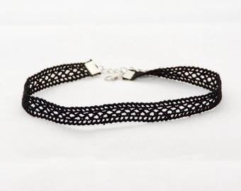 Choker Necklace Lace Black Pane