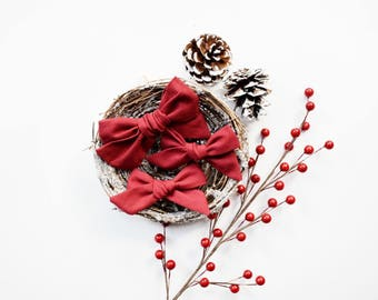 Cranberry | baby headband bows, baby hair clips, baby hair accessories, baby headband set, hair bows, newborn headband, christmas hair bows