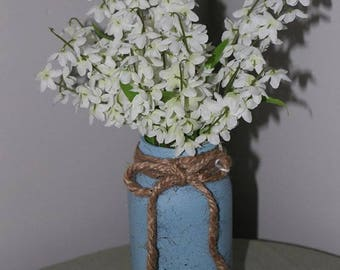 Blue Painted Speckled Jar with Flowers
