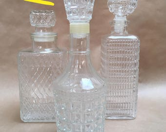 Set of 3 - Vintage Glass Liquor Decanter - Bar Cart Accessories - Whiskey Bottle -  70s - Mixed Set - Faceted Glass