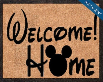 Welcome Home! Mickey Mouse Silhouette! Custom Disney DoorMats, Great for a Wedding, Anniversary, Birthdays, Housewarming Graduation Present!