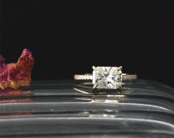 8*6mm Radiant Cut Forever Classic Moissanite Ring Half Eternity Diamonds Ring C&C Moissanite Engagement Ring 14K Yellow Gold Bridal Ring