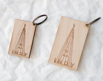 Indy Monument Wood Keychain