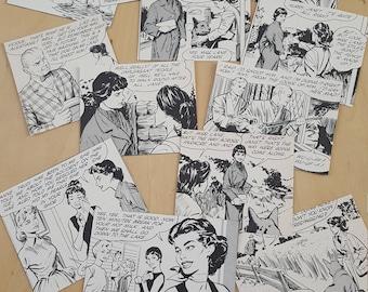 15pc Die Cut Hand Cut Women Men Cartoon Black And White 70s Annual Ephemera For Scrapbooking, Collage, Art Journaling, Crafting Mix Media