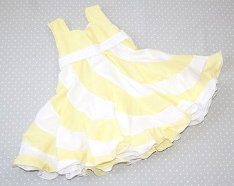 18 month Yellow White Peppermint Swirl Dress, Swirl Dress, Girls Boutique Dress, Toddlers Dress,Girls Holiday Dress, Party, Occasion Dress