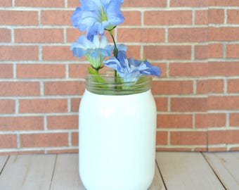 Small White Hand Painted Flower Vase made from Recycled Glass Jar
