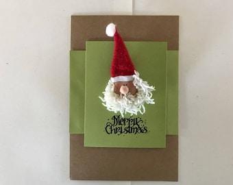 Wooden Santa Pin on a Christmas Card