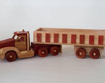 Handmade wooden semi-trailer