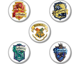 "Set of 5 Harry Potter Hogwarts 25mm / 1"" (1 inch) Pin Button Badges - Gryffindor Hufflepuff Slytherin Ravenclaw & Hogwarts School Crests"