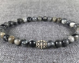 Men's Snowflake Obsidian 6mm Beads Stretch Bracelet