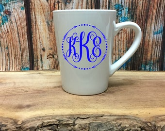 Monogrammed Coffee Cup - Monogrammed Coffee Mug - Customized Coffee Cup - Birthday Gift - Gift for Her - Personalized Coffee Cup