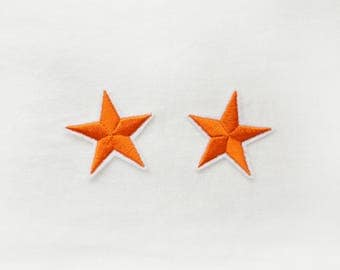 2x orange stars military pinup Rockabilly fashion custom Iron On Embroidered Patch Applique Star rock tattoo