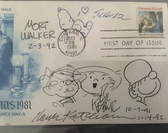 Charles Schulz/Bil Keane /Hank Ketcham/Mort Walker BGS Certified Autographs and No. 125 Ketcham signed Dennis the Menace Comic Book PSA/DNA