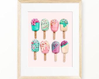 Ice Cream Art Print, Ice Cream Cone Decor, Ice Cream Print, Summer Ice Cream Printable Ice Cream Poster Large Ice Cream Print, Digital Print