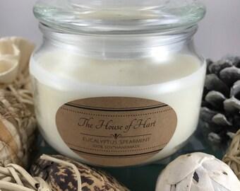Soy Hemp Wick 16 oz. Eucalyptus Spearmint Candle//gift//handmade//homemade//