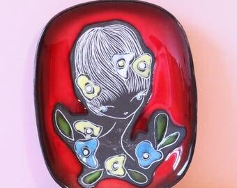 San Marino Girl Italian Pottery Wall Plaque/Dish - Vintage Ceramics