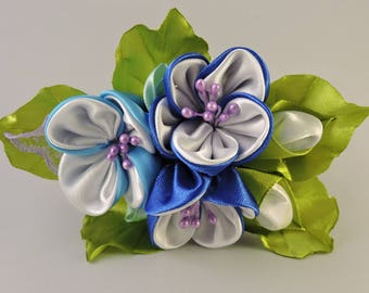 Kanzashi flower hair clip. Girls hair clip. Free shipping