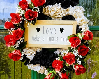LOVE HOME BURLAP, wreath, floral, flowers, decor, door decor, plaque, gift, decoration