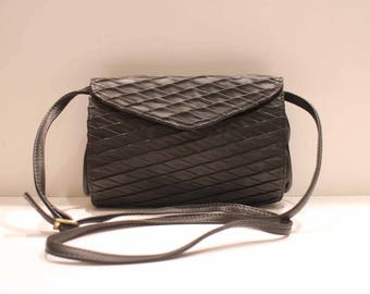 Small shoulder bag leather grey dark/anthracite/made in Italy/Zago Fabio/new/vintage 80's
