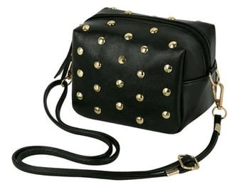 Leather Clutch Crossbody Black Studded