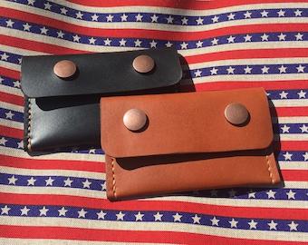 Smiley Snap Card Wallet - Hermann Oak Black Bridle Leather