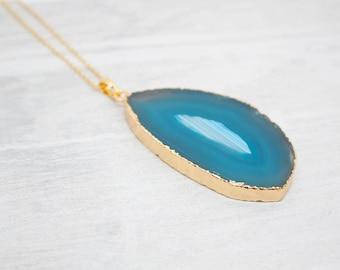 Chain yellow gold agate gem gemstone Blau unique