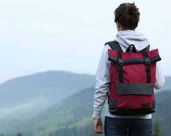 Waxed Canvas Backpack,Roll Top Backpack,Rolltop Rucksack,Vegan Backpack,College Backpack,Everyday Backpack,Gift for Her, Burgundy Backpack