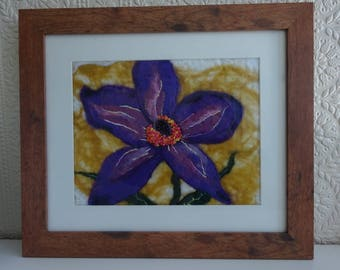 Purple flower felted picture