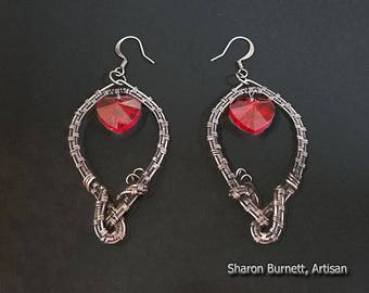 Red Celestial Crystal Hearts Earrings Copper Wire Wrapped with an Antique Patina Finish