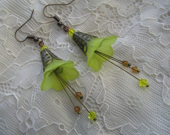 Bronze and yellow flower earrings