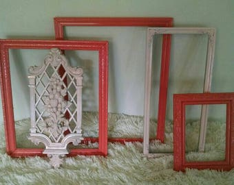 Coral n blush gallery wall frames~girls room decor wall frames~pink wall hangings~vintage upcycled frames