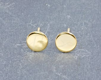 Earrings 925 sterling silver gold plated * circle small * coin * circle * stud earrings