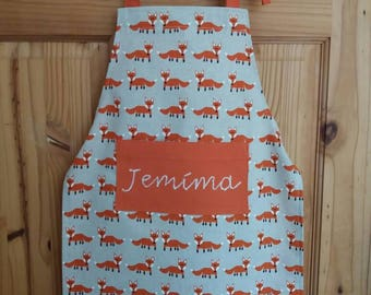 Fox Print Apron with Pocket, available in Toddler, children's or Adult size. Can be personalised