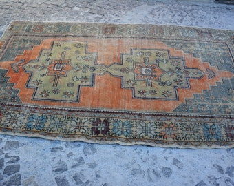 4.5' x 8.2' muted oushak rug orange turkish rug turkish vintage rug anatolian rug anatolian rug with distressed rug turkish rugs 768