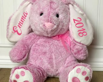 Personalized Easter Bunny, Personalized Easter gift, Pink bunny, Stuffed bunny, Easter Rabbit, Stuffed animal, Personalized, Rabbit, Easter