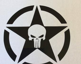 Punisher skull in star jeep vinyl decal