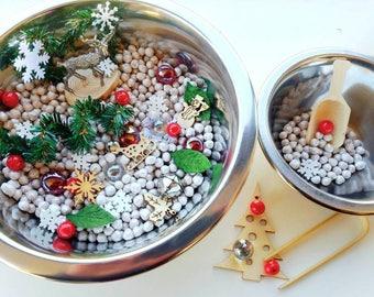 Winter Snow Sensory Bowl Reggio Emelia Inspired Loose Parts, Provocation, Waldorf Nature Table, Sensory Bin, Montessori Pretend Play tonging