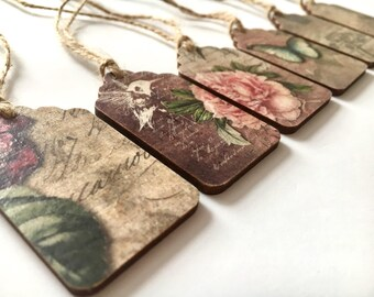 Gift tags, wooden gift tags , vintage tags, luggage tags, handmade gift tags