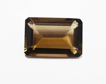 AAA Quality Smoky Quartz Octagon Emerald Cut / 27x18x10 mm / Loose Gemstone / Cut Stone